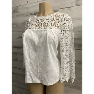 Anthropologie white women long sleeve blouse